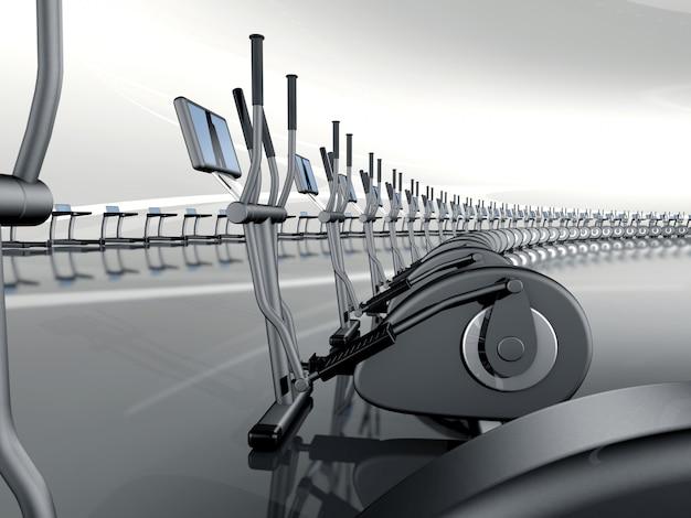 Gymnase moderne et futuriste avec vélo elliptique