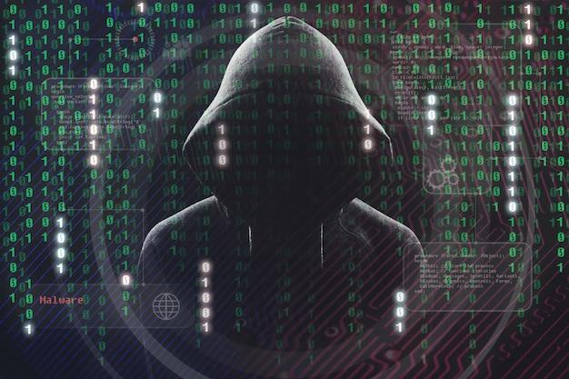 Hacker au travail avec une interface utilisateur graphique autour