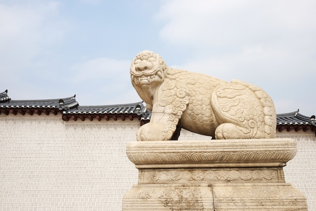 Haechi, statue d'un animal de lion mythologique à gyeongbokgun
