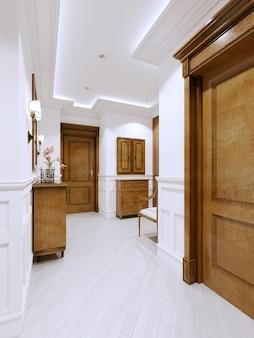 Hall d'entrée dans un appartement moderne de style classique, avec une commode et des panneaux muraux en blanc, rendu 3d.