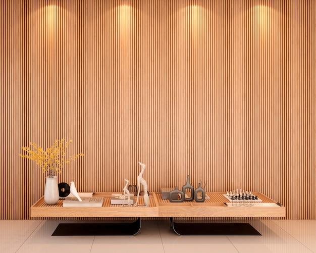 Hall d'entrée avec décorations de table centrale murale en lattes de bois et décorations rendu 3d