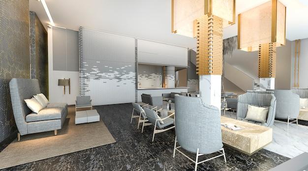 Hall d'hôtel magnifique et de luxe avec une belle décoration