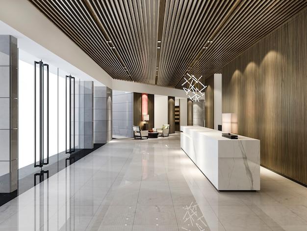 Hall de réception de l'hôtel de luxe en rendu 3d et bureau en bois de style asiatique avec comptoir moderne
