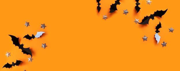 Halloween plat poser composition de chauves-souris de papier noir voler