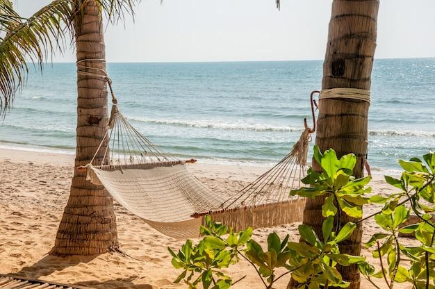 Hamac sur la plage tropicale