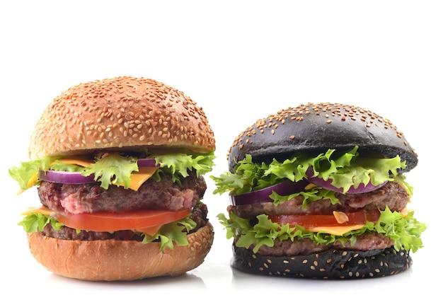 Hamburger blanc et noir sur fond blanc