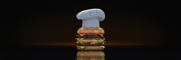 Hamburger avec chapeau chef rendu 3d