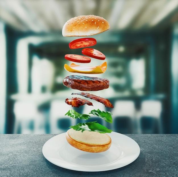 Hamburger. concept de régime de restauration rapide, suralimentation compulsive et régimes amaigrissants. notion de rendu 3d