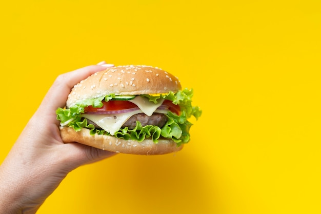 Hamburger devant fond jaune