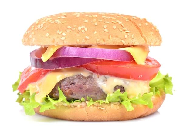 Hamburger sur fond blanc