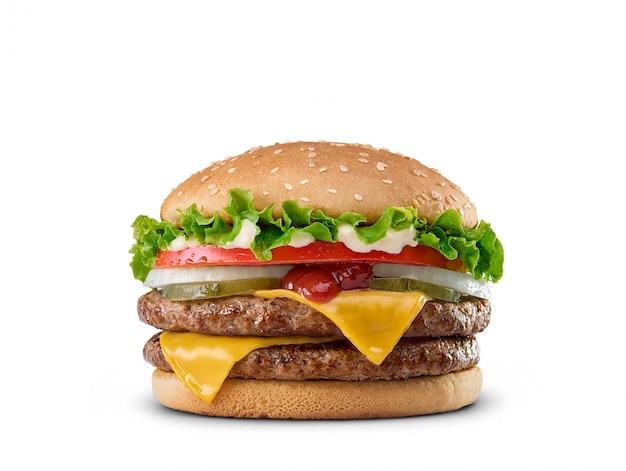 Hamburger isolé sur blanc