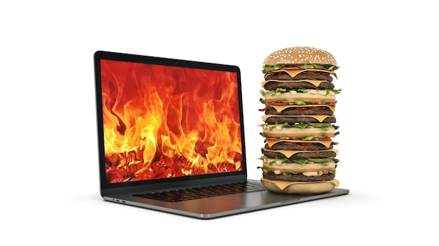 Hamburger avec rendu 3d pour ordinateur portable