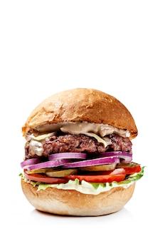 Hamburgers américains de pain rouge.