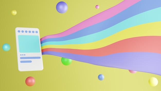 Handphone 3d illustration moderne et tendance avec des ballons colorés et un drapeau sur fond jaune