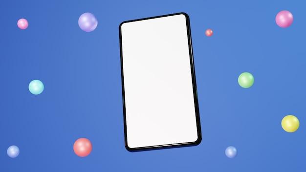 Handphone plat 3d illustration rendu moderne et tendance avec des ballons colorés sur fond bleu