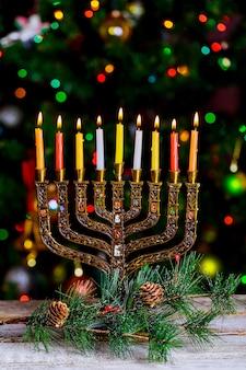 Hanoukka, bokeh défocalisé du festival juif des lumières, lumière de bokeh,