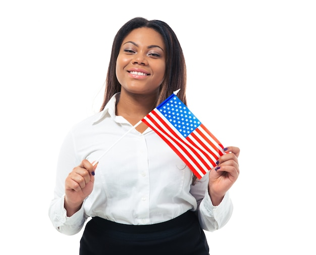 Happy african busiensswoman holding drapeau américain