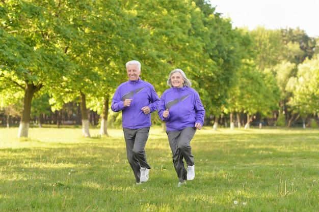 Happy fit senior couple jogging dans le parc
