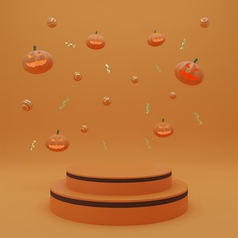 Happy halloween, podium de présentation de produit concept avec fond de ton orange fantôme de citrouille. rendu 3d