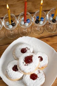 Happy hanoukka vacances bonbons et bougie