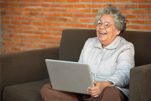 Happy senior woman sitting on sofa in living room use laptop, older generation using modern technology concept.