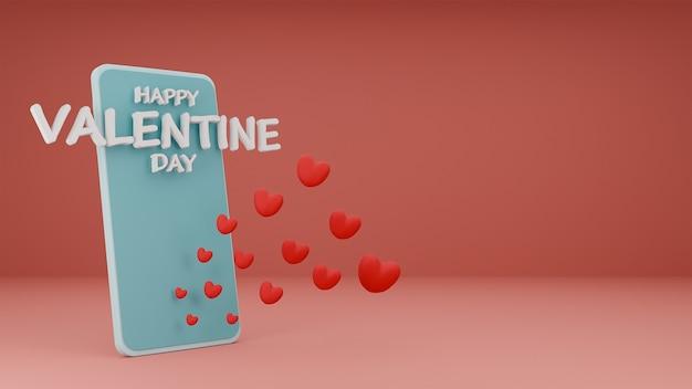 Happy valentine's day of hearts sortant du téléphone avec texte 3d, copiez l'espace sur fond pastel rose. rendu 3d
