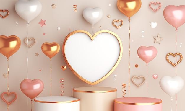 Happy valentines day décoration affichage podium avec ballon en forme de coeur