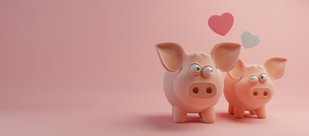 Happy valentines day et élément de design de désherbage. fond rose. rendu 3d