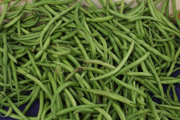 Haricots verts sur le marché