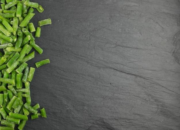 Haricots verts surgelés hachés à plat et vue de dessus