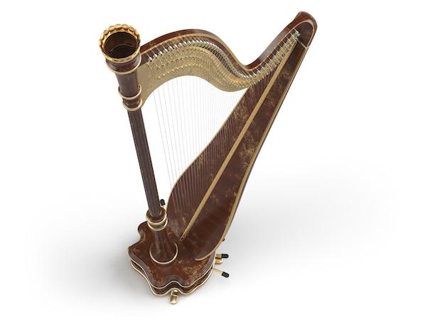 Harpe vieilli isolé sur blanc