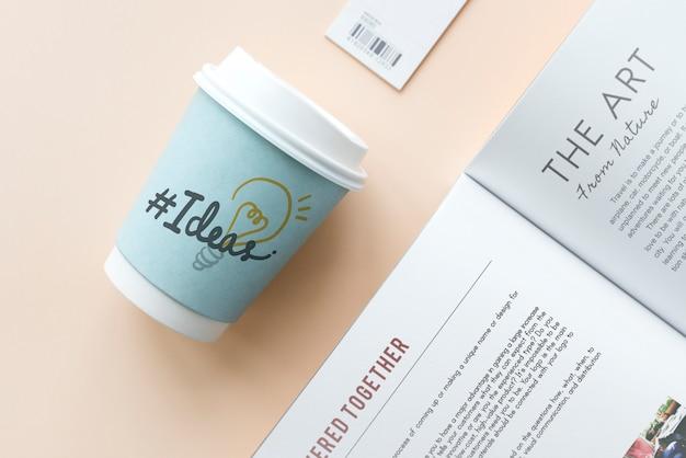 Hashtag ideas sur un gobelet en papier