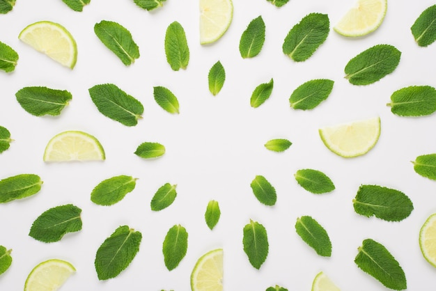 Haut au-dessus de la vue aérienne photo de feuilles de menthe et de tranches de citron vert se trouvant en cercles isolés sur fond blanc