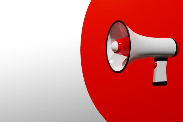 Haut-parleur de dessin animé rouge et blanc sur fond monochrome blanc.
