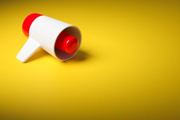 Haut-parleur de dessin animé rouge et blanc sur fond monochrome jaune. illustration 3d d'un mégaphone. symbole publicitaire, concept de promotion.