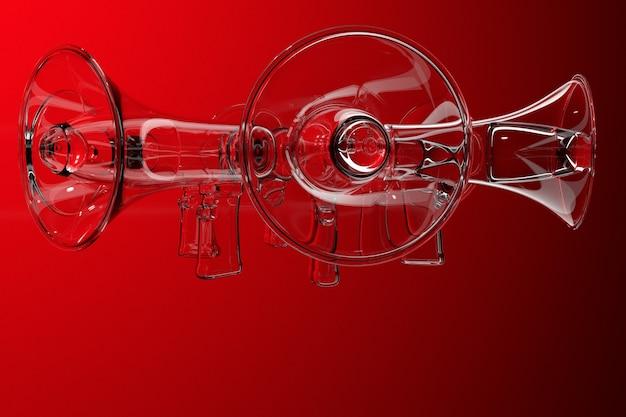 Haut-parleur de dessin animé transparent de groupe sur un fond monochrome rouge