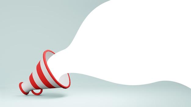 Haut-parleur mégaphone de rendu 3d blanc et rouge avec une bulle blanche sortant sur fond bleu clair
