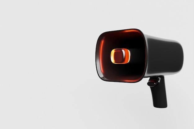 Haut-parleur en verre de dessin animé noir sur fond monochrome blanc. illustration 3d d'un mégaphone.