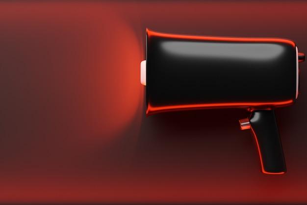 Haut-parleur en verre de dessin animé noir sur fond monochrome rouge. 3d illustration d'un mégaphone