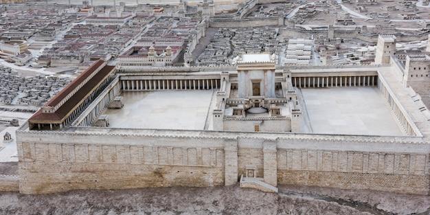 Haute vue angle, de, deuxième, temple, modèle, israël, musée, jérusalem, israël