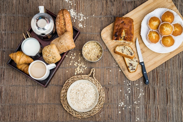 Haute vue angle, de, petit-déjeuner, sur, napperon