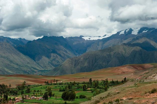 Haute vue angle, de, sacré, vallée, cusco, région, pérou