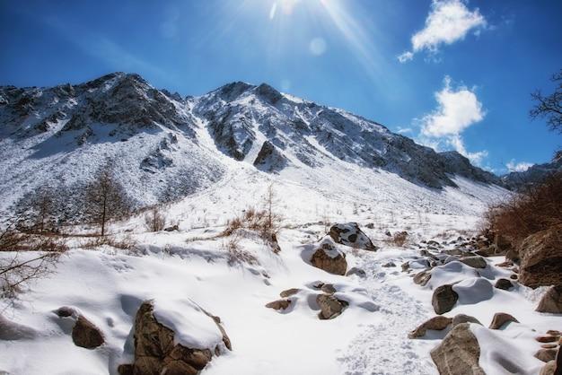De hautes montagnes sous la neige en hiver