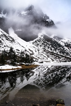 Hautes tatras reflétées dans un lac de montagne