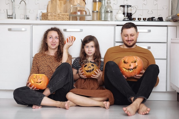 Héhé, s'amuser à la maison avec des citrouilles pour halloween