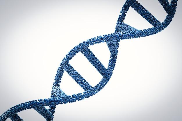 Hélice d'adn bleue de rendu 3d ou structure d'adn