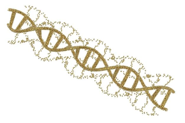 Hélice d'adn d'or de rendu 3d ou structure d'adn