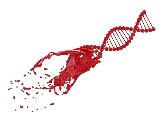 Hélice d'adn de rendu 3d avec éclaboussures de sang isolé sur blanc