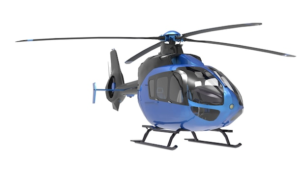 Hélicoptère bleu isolé sur le blanc