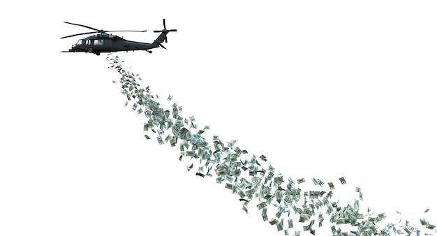 Hélicoptère distribuant de l'argent isolé sur blanc.
